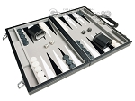 picture of 15-inch Leatherette Backgammon Set - Inlaid Velvet Field - Black/Grey (2 of 11)