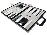 picture of 15-inch Leatherette Backgammon Set - Inlaid Velvet Field - Black/Grey (3 of 11)
