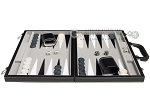 picture of 15-inch Leatherette Backgammon Set - Inlaid Velvet Field - Black/Grey (4 of 11)