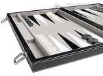 picture of 15-inch Leatherette Backgammon Set - Inlaid Velvet Field - Black/Grey (5 of 11)