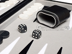 picture of 15-inch Leatherette Backgammon Set - Inlaid Velvet Field - Black/Grey (7 of 11)