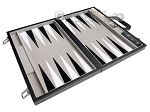 picture of 15-inch Leatherette Backgammon Set - Inlaid Velvet Field - Black/Grey (9 of 11)