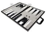 picture of 18-inch Leatherette Backgammon Set - Inlaid Velvet Field - Black/Grey (3 of 11)