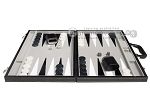 picture of 18-inch Leatherette Backgammon Set - Inlaid Velvet Field - Black/Grey (4 of 11)