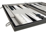 picture of 18-inch Leatherette Backgammon Set - Inlaid Velvet Field - Black/Grey (5 of 11)