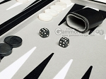 picture of 18-inch Leatherette Backgammon Set - Inlaid Velvet Field - Black/Grey (7 of 11)