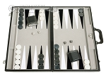 picture of 21-inch Tournament Backgammon Set - Inlaid Velvet Field - Black/Grey (1 of 11)