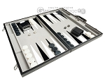 picture of 21-inch Tournament Backgammon Set - Inlaid Velvet Field - Black/Grey (2 of 11)
