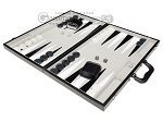 picture of 21-inch Tournament Backgammon Set - Inlaid Velvet Field - Black/Grey (3 of 11)