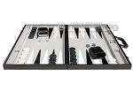 picture of 21-inch Tournament Backgammon Set - Inlaid Velvet Field - Black/Grey (4 of 11)