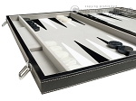 picture of 21-inch Tournament Backgammon Set - Inlaid Velvet Field - Black/Grey (5 of 11)