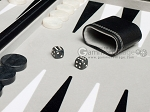 picture of 21-inch Tournament Backgammon Set - Inlaid Velvet Field - Black/Grey (7 of 11)