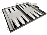 picture of 21-inch Tournament Backgammon Set - Inlaid Velvet Field - Black/Grey (9 of 11)