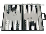 18-inch Leatherette Backgammon Set - Inlaid Velvet Field - Black/Grey - Item: 2989