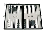 15-inch Leatherette Travel Backgammon Set - Inlaid Velvet Field - Item: 2987