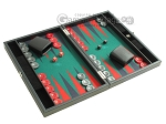 Hector Saxe Faux Leather Travel Backgammon Set - Green Field