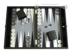Hector Saxe Faux Leather Travel Backgammon Set - Grey Field - Item: 2503
