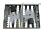 Hector Saxe Carbon Linen/Felt Travel Backgammon Set - Grey - Item: 2519