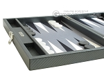 picture of Hector Saxe Carbon Linen/Felt Travel Backgammon Set - Grey (5 of 12)