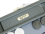 picture of Hector Saxe Carbon Linen/Felt Travel Backgammon Set - Grey (7 of 12)