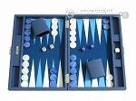 Hector Saxe Leatherette Travel Backgammon Set - Blue - Item: 2523