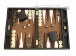 Hector Saxe Leatherette Travel Backgammon Set - Chocolate - Item: 2525