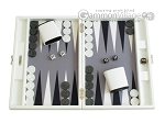 Hector Saxe Leatherette Travel Backgammon Set - White - Item: 2501