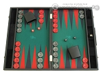Hector Saxe Faux Leather Backgammon Set - Medium - Green Field - Item: 2508