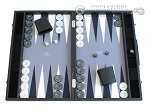 Hector Saxe Faux Leather Backgammon Set - Medium - Grey Field - Item: 2507