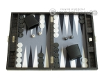 Hector Saxe Faux Croco Travel Backgammon Set - Black - Item: 2515