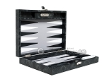 Hector Saxe Python Leather Travel Backgammon Set - Black