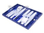 picture of Hector Saxe Python Leather Travel Backgammon Set - Blue (3 of 12)