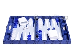 Hector Saxe Python Leather Travel Backgammon Set - Blue