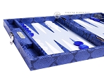 picture of Hector Saxe Python Leather Travel Backgammon Set - Blue (5 of 12)