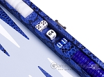 picture of Hector Saxe Python Leather Travel Backgammon Set - Blue (9 of 12)