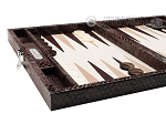 picture of Hector Saxe Python Leather Travel Backgammon Set - Brown (5 of 12)