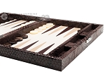 Hector Saxe Python Leather Travel Backgammon Set - Brown