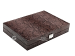 Hector Saxe Python Leather Travel Backgammon Set - Brown - Item: 2749