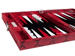 picture of Hector Saxe Python Leather Travel Backgammon Set - Red (5 of 12)