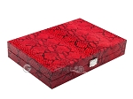 Hector Saxe Python Leather Travel Backgammon Set - Red