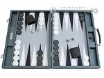 Hector Saxe Carbon Linen/Felt Backgammon Set - Grey - Item: 2518