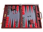 Hector Saxe Faux Snake Backgammon Set - Maroon - Item: 2493