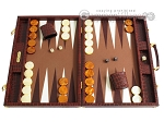 Hector Saxe Faux Croco Backgammon Set - Brown - Item: 2510