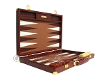 Hector Saxe Faux Croco Backgammon Set - Brown