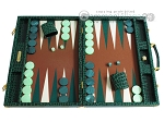 Hector Saxe Faux Croco Backgammon Set - Emerald Green - Item: 2511
