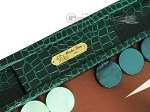 picture of Hector Saxe Faux Croco Backgammon Set - Emerald Green (7 of 12)