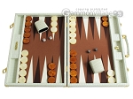 Hector Saxe Faux Croco Backgammon Set - Ivory - Item: 2509