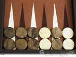 picture of Hector Saxe Leatherette Backgammon Set - Chocolate (8 of 12)