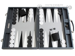 Hector Saxe Carbon Linen/Leather Backgammon Set - Grey - Item: 2517