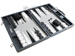 picture of Hector Saxe Carbon Linen/Leather Backgammon Set - Grey (2 of 12)